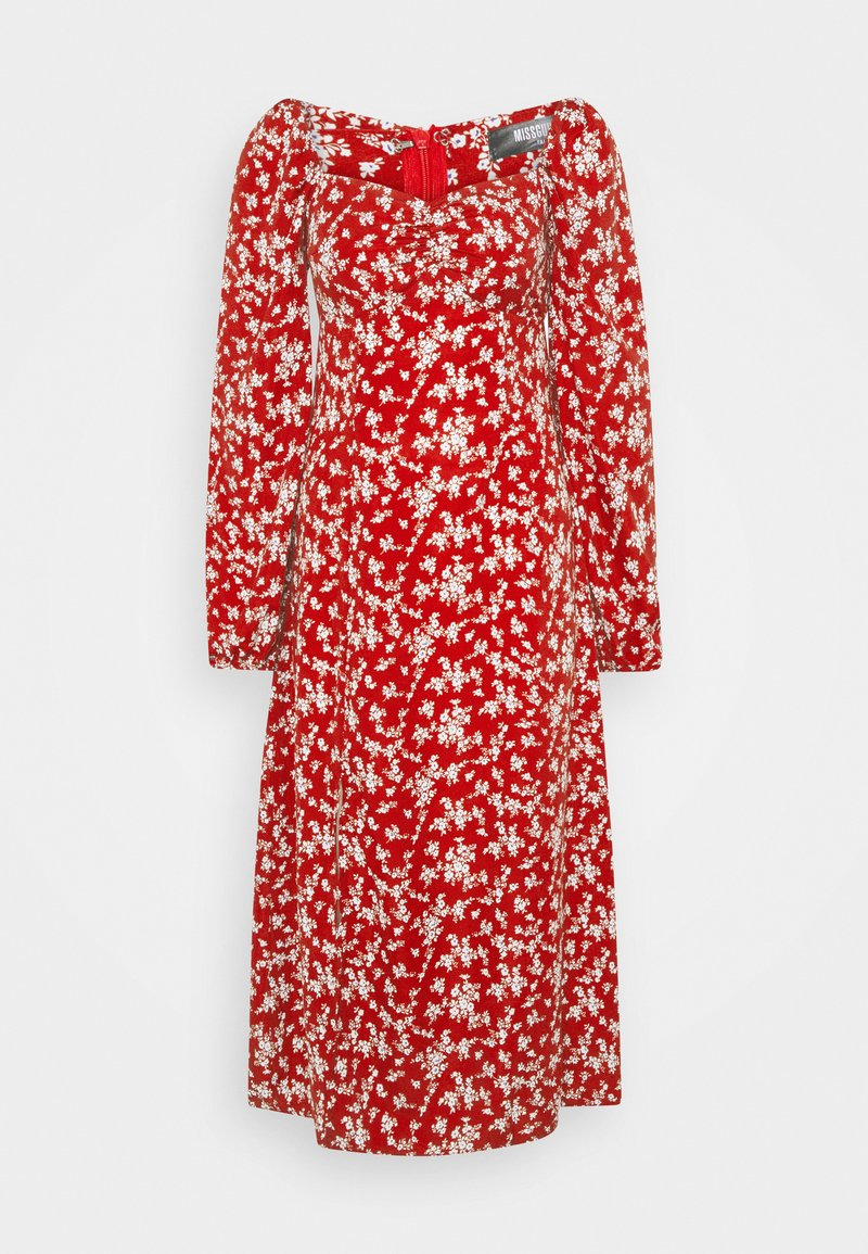 Missguided Tall - MILKMAID SHIRRED BUST MIDI FLORAL - Kjole - red