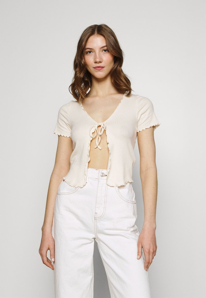 BDG Urban Outfitters - TIE FRONT - Cardigan - ecru