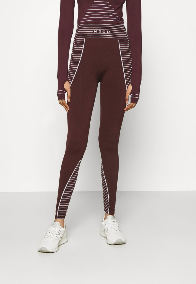 SEAMLESS HIGH WAISTED - Legginsy - burgundy