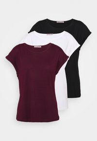 Anna Field - 3 PACK - T-shirt basique - black/white/dark red - 5