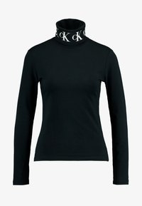 Calvin Klein Jeans - MONOGRAM TAPE ROLL NECK - Top s dlouhým rukávem - black - 4