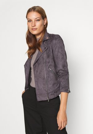 BIKER JACKET - Faux leather jacket - slate grey