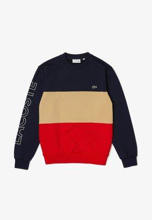 Sweatshirt - bleu marine/beige/rouge