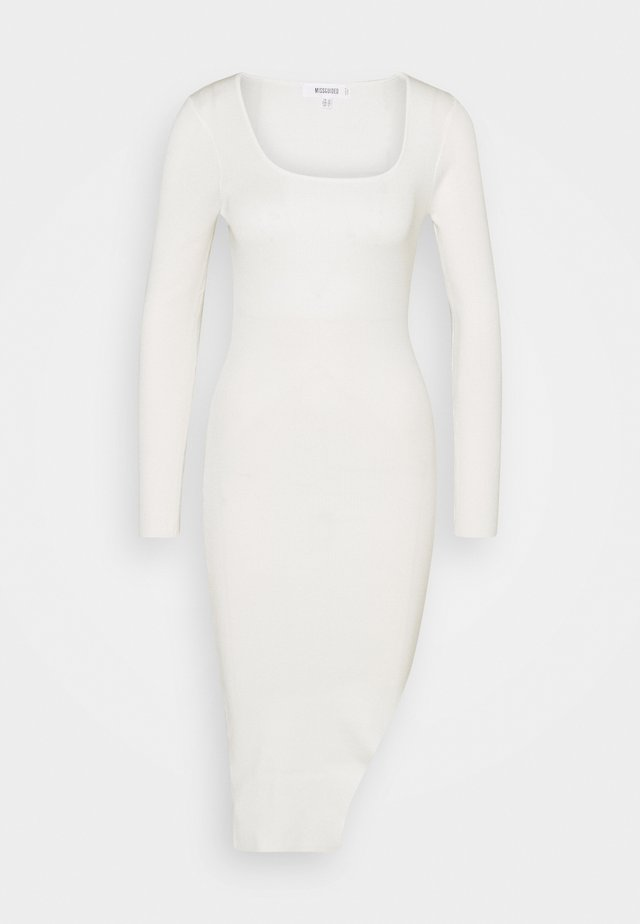 MIDI SPLIT FRONT DRESS - Pullover - cream