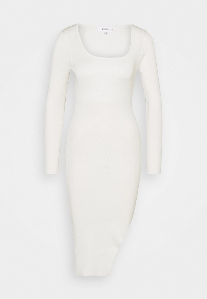 Missguided - MIDI SPLIT FRONT DRESS - Svetr - cream