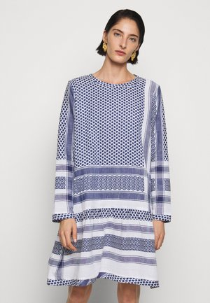 DRESS LONG SLEEVES - Day dress - navy/white