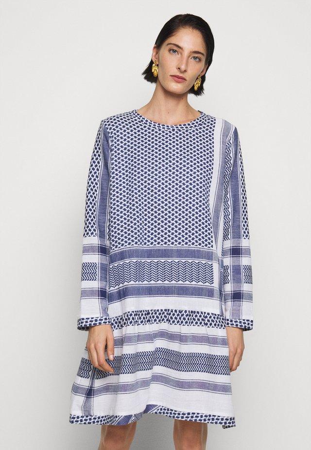 DRESS LONG SLEEVES - Day dress - navy/white