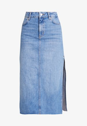 SPLIT SIDE MIDI SKIRT - Denim skirt - blue