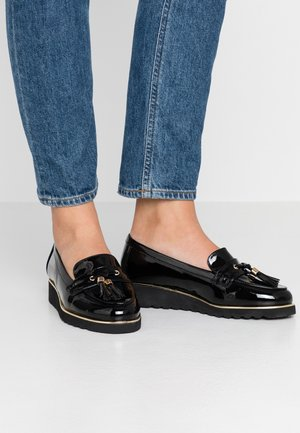 WIDE FIT FLATFORM LOAFER - Półbuty wsuwane - black