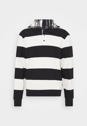 LEWIS HAMILTON UNISEX STRIPED HOODED POLO - Felpa aperta - ivory/black