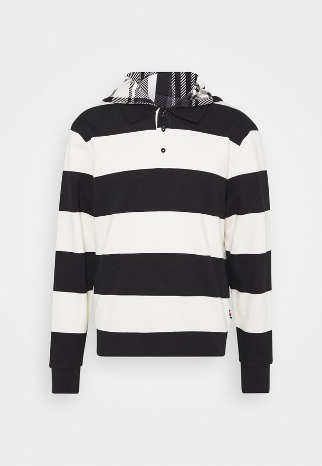 LEWIS HAMILTON UNISEX STRIPED HOODED POLO - Bluza rozpinana - ivory/black