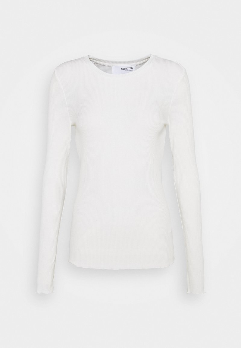 Selected Femme Tall - SLFANNA CREW NECK TEE - Long sleeved top - snow white