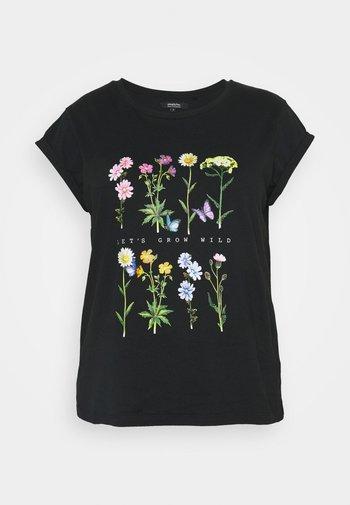 FLORAL TURNBACK TEE - Print T-shirt - black