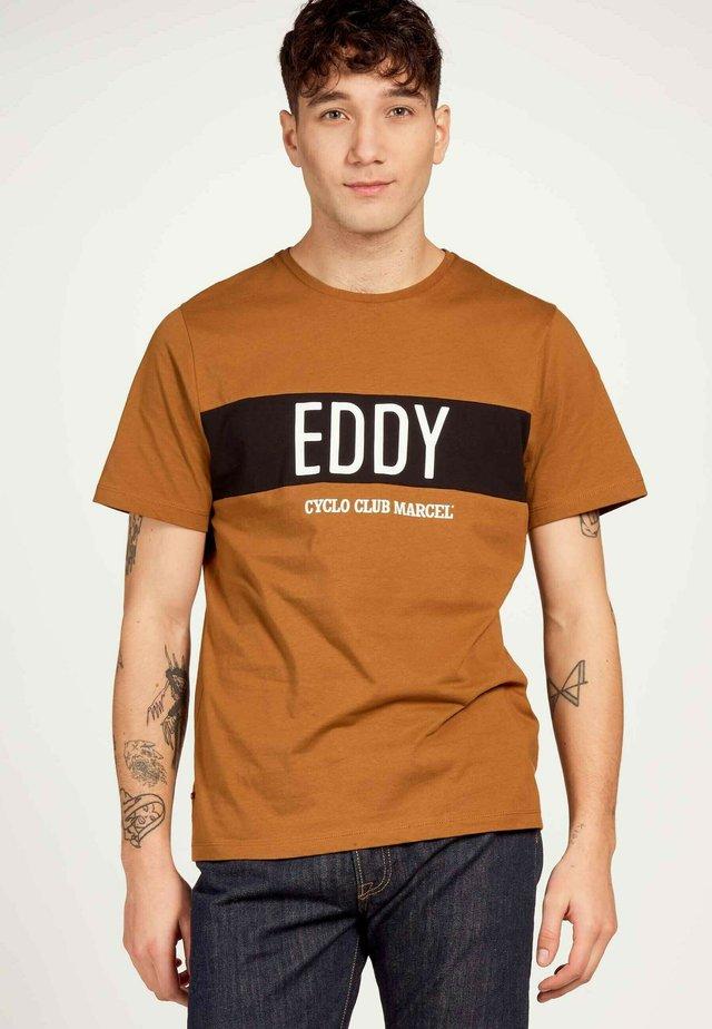 T-shirt imprimé - cognac