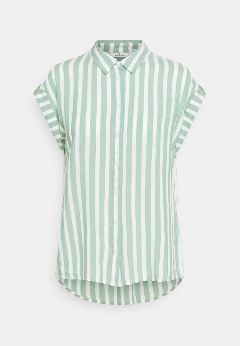 TOM TAILOR - Button-down blouse - green/off-white