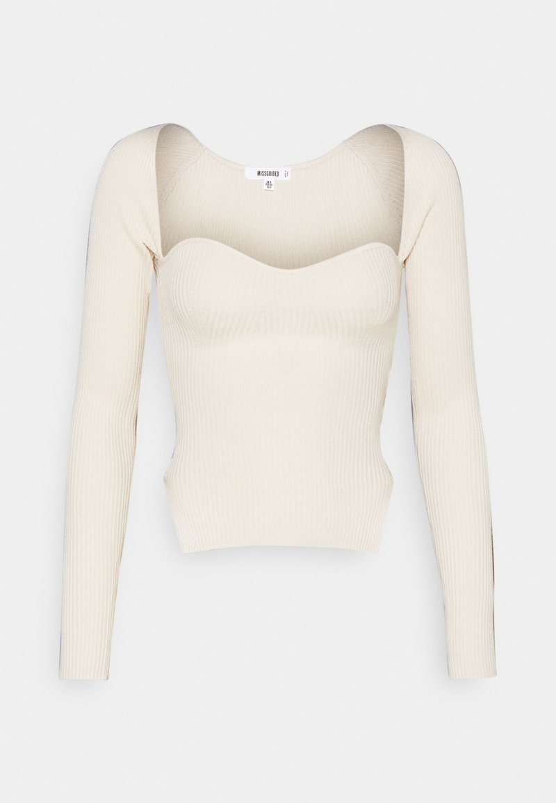 Missguided - SWEETHEART LONG SLEEVE - Jumper - white