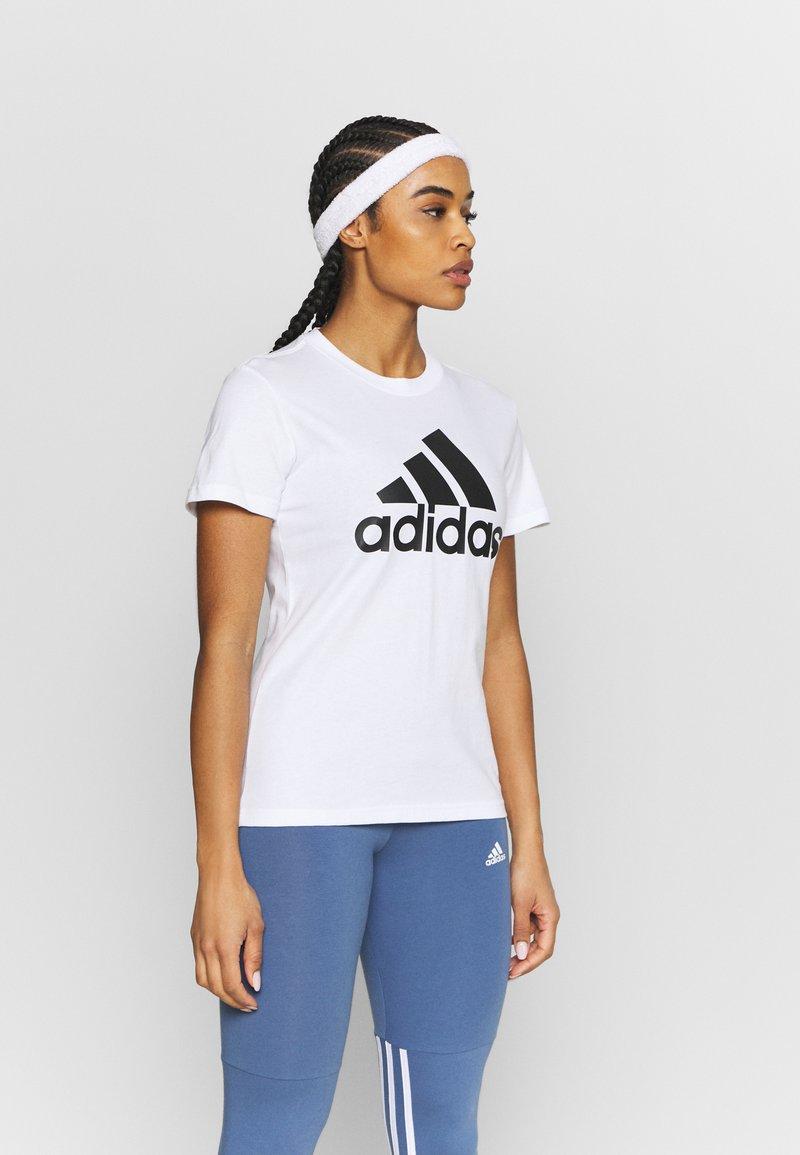 adidas Performance - T-shirt print - white/black