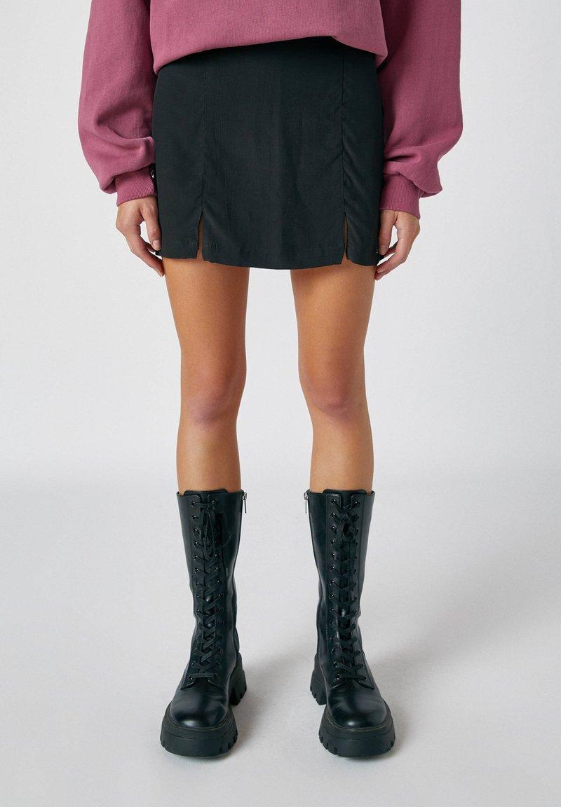 PULL&BEAR - Mini skirt - mottled dark grey