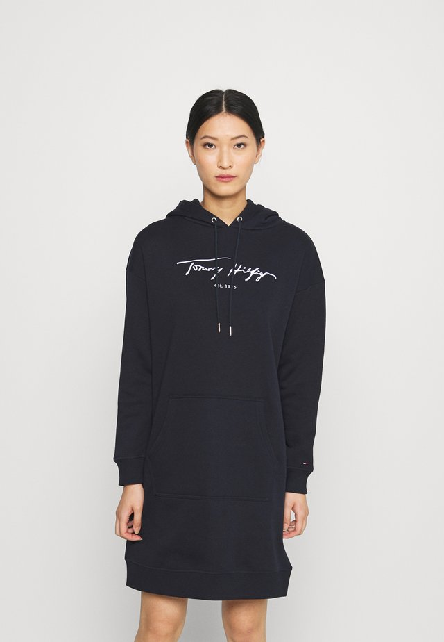 SCRIPT HOODIE DRESS - Day dress - desert sky