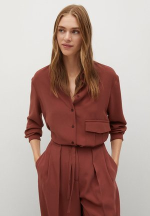ARES-I - Button-down blouse - bräunliches orange