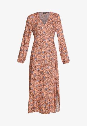 WRAP LONG SLEEVE MIDI DRESS - Day dress - luna rust