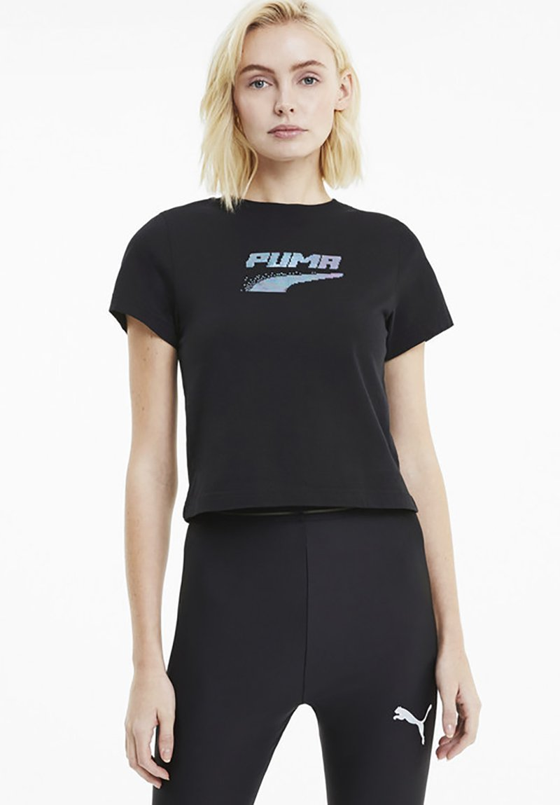 Puma - EVIDE GRAPHIC TEE - T-Shirt print - black