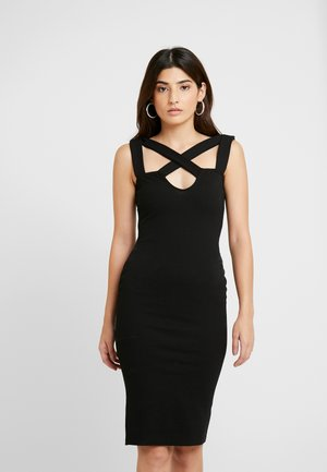 CROSS FRONT MIDI DRESS - Vestido de cóctel - black