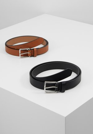 UNISEX 2 PACK - Belt - black/cognac