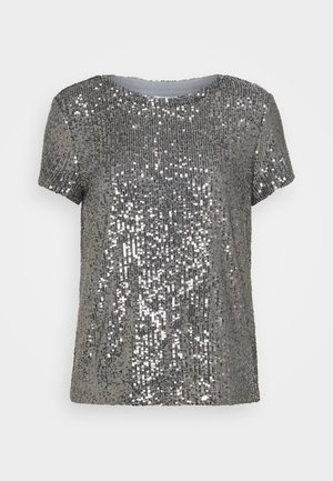 SEQUINS TEE - T-shirt con stampa - gunmetal