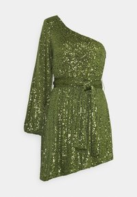 Glamorous - ASYMMETRICAL SEQUIN MINI DRESS WITH ONE LONG SLEEVE AND TIE DETA - Cocktail dress / Party dress - green - 0