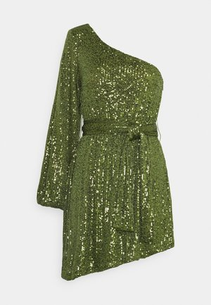 ASYMMETRICAL SEQUIN MINI DRESS WITH ONE LONG SLEEVE AND TIE DETA - Juhlamekko - green