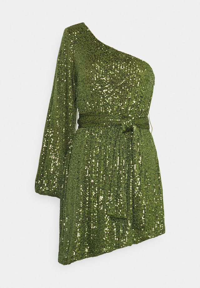 ASYMMETRICAL SEQUIN MINI DRESS WITH ONE LONG SLEEVE AND TIE DETA - Vestito elegante - green