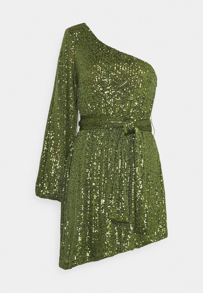 Glamorous - ASYMMETRICAL SEQUIN MINI DRESS WITH ONE LONG SLEEVE AND TIE DETA - Cocktailkjole - green