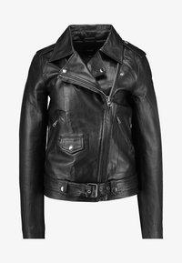 OBJNANDITA JACKET - Leather jacket - black