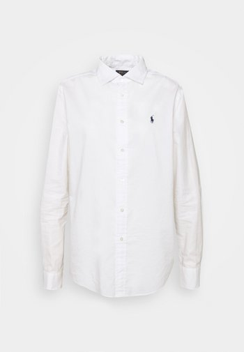 RELAXED LONG SLEEVE BUTTON FRONT SHIRT - Button-down blouse - white