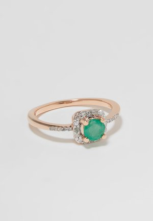 9KT ROSE GOLD 0.12ct CERTIFIED DIAMOND & 0.45ct EMERALD HALO RING - Ring - rosegold-coloured