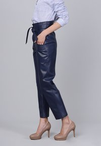 Basics and More - Leather trousers - dark blue - 4