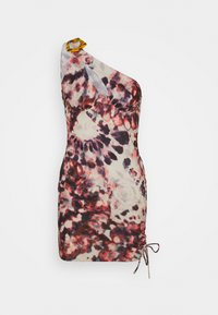 ONE SHOULDER RUCHED SIDE MINI DRESS TIE DYE PRINT - Denní šaty - multi