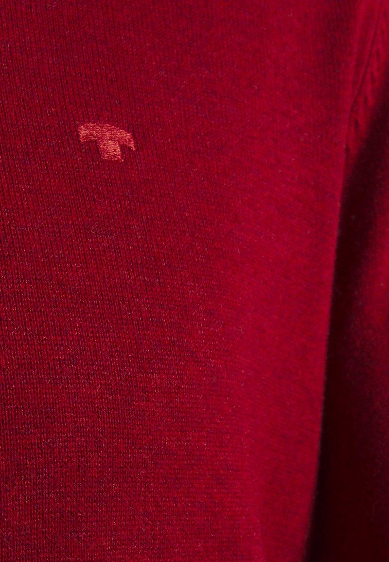 TOM TAILOR V NECK - Strickpullover - spicy red melange/weiß Atav9y