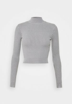 2 TONE KNIT RIBBED HIGH NECK CROPPED TOP - Long sleeved top - grey