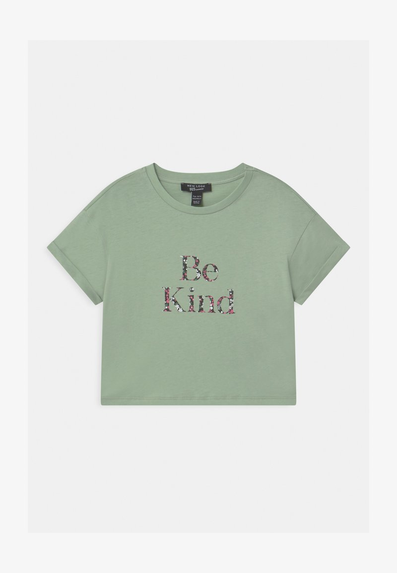New Look 915 Generation - BE KIND FLORAL LOGO  - T-shirt print - green