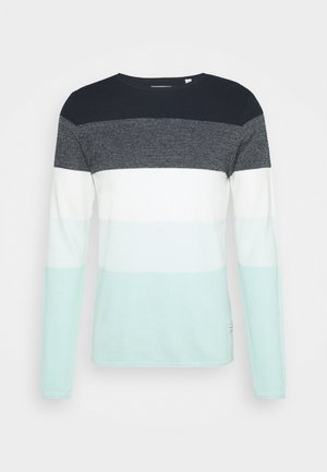 JJLINCOLN CREW NECK - Stickad tröja - bleached aqua/navy blazer