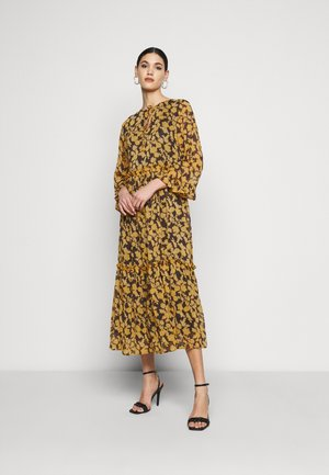 OBJSILJE DRESS - Korte jurk - black/honey ginger