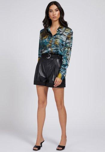 Button-down blouse - mehrfarbig, grundton blau