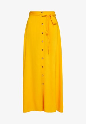 SKIRT WITH BUTTON PLACKET - Maxi skirt - orange/yellow