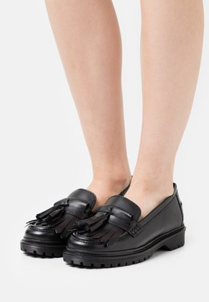 FRINGE LOAFER - Slip-ons - black