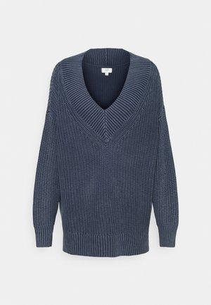 WIDE V NECK - Stickad tröja - navy