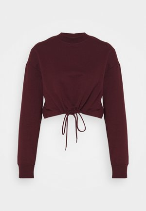 TIE HEM CROPPED SWEATSHIRT - Sweatshirt - dark red