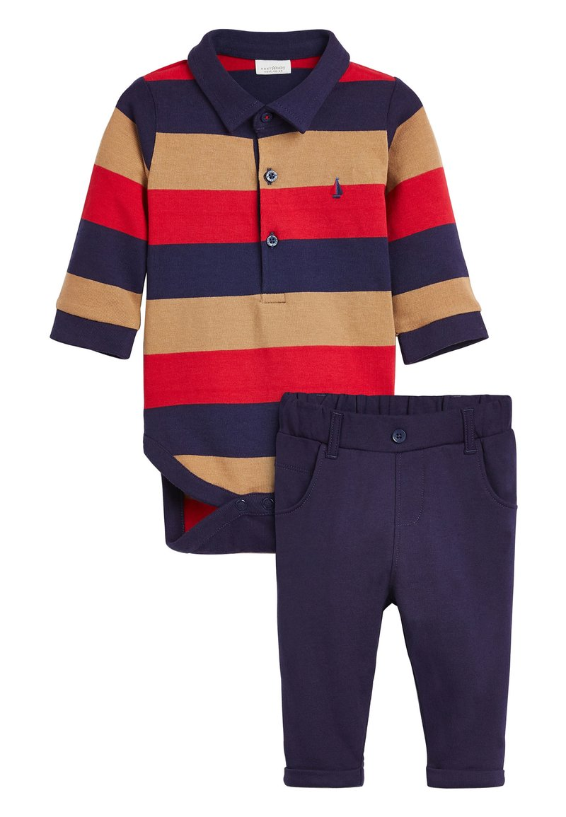 Next - MULTI STRIPED POLOBODY AND CHINO SET (0MTHS-3YRS) - Body - red