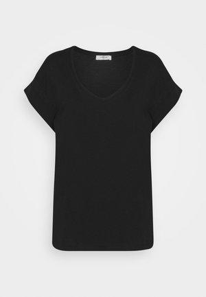 ALVA V NECK TEE - Basic T-shirt - black